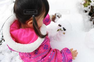 雪,庭,白,子供,女の子,人物,人,雪だるま,ホワイト