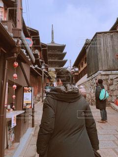 男性,冬,京都,男,後姿,ダウン