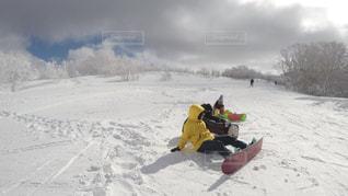 冬,雪,女子,休憩,ゲレンデ,スノーボード,ウィンタースポーツ