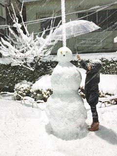 女性,公園,傘,雪,白,女,雪だるま,ホワイト,大雪,スノーマン