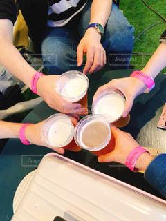 夏,グラス,ビール,乾杯,男女,ドリンク,ビアガーデン,至福
