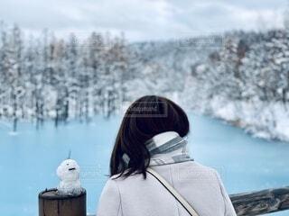 冬の絶景を雪だるまとの写真・画像素材[4182656]
