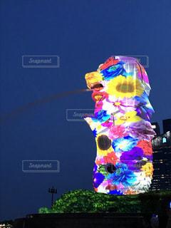 海外,カラフル,景色,観光,旅行,マーライオン,シンガポール,噴水,プロジェクションマッピング
