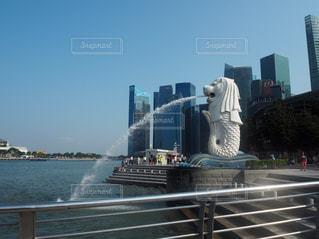 ビル,海外,青空,観光,旅行,マーライオン,シンガポール,噴水
