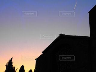 空,海外,夕暮れ,ローマ,飛行機雲,イタリア,海外旅行