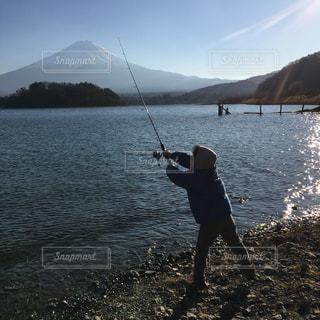 自然,風景,富士山,湖,水面,山,人,釣り,日中