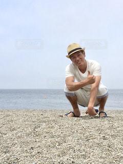 砂浜と男子の写真・画像素材[1683694]
