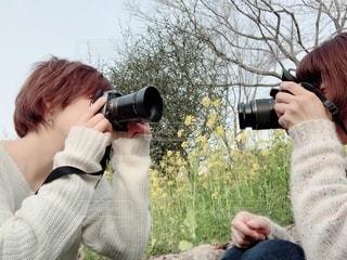 カメラ女子!?笑の写真・画像素材[1845112]