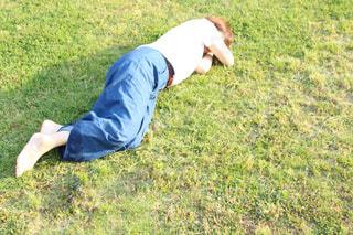 緑の野原にいる少年の写真・画像素材[2415429]