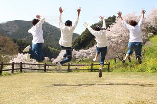フリスビーを捕まえるために空中に飛び込む人々のグループの写真・画像素材[4300525]