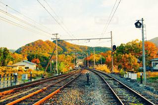 空,秋,電車,線路,観光,道,旅行,埼玉,鉄道,長瀞,長い,移動