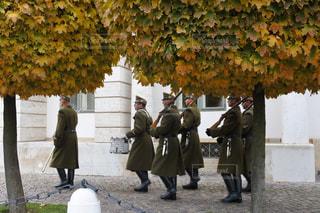 ブダペストの秋、紅葉と衛兵の交代式の様子の写真・画像素材[1589561]