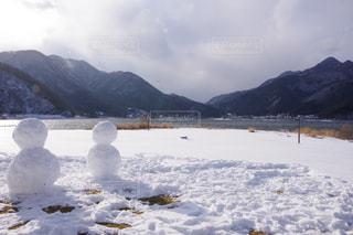 自然,空,冬,雪,屋外,曇り,山,氷,雪だるま,河口湖,日中