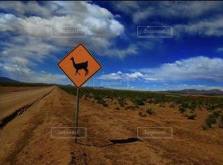 自然,空,青空,観光,岩,旅,アルパカ,海外旅行,ウユニ,ボリビア,道路標識,ウユニの山,アルパカ注意