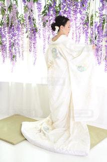 女性,30代,大阪,白,藤,髪飾り,ホワイト,前撮り,白無垢,白菊