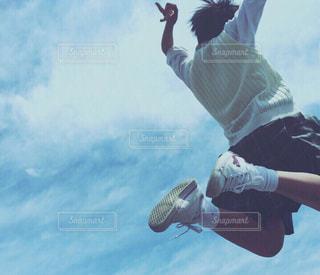 学生,空,ジャンプ,学校,青春,制服,ポジティブ,学校生活