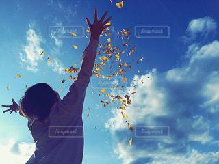 空,秋,青空,楽しい,人,学校,イチョウ,青春,ポジティブ,日中,学校生活