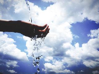 夏,青空,青,水,手,水滴,青春,水遊び
