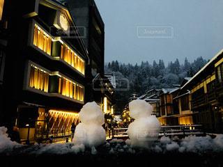 自然,冬,雪,白,観光地,旅行,雪だるま,ゆき,山形,温泉街,銀山温泉,冬休み