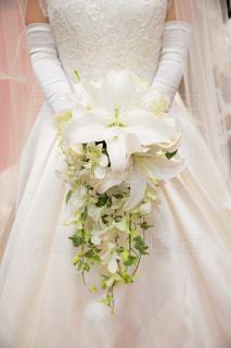 白,結婚式,ブーケ,百合,純白,ユリ