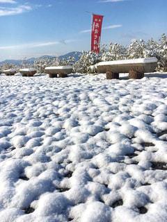 冬,雪,屋外,白,駐車場,ベンチ,ホワイト,雪化粧,積雪,日中,雪の日,雪の朝,丹波七福神
