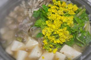 食べ物,花,春,食事,黄色,菜の花,鍋,豆腐,料理,湯気,美味しい,イエロー,夕食,ヘルシー,黄色い,yellow,おうちご飯,鍋料理,具材,温まる,舞茸,菜の花鍋