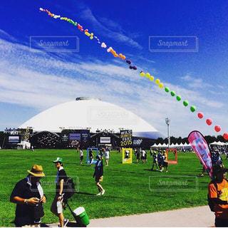 フィールドに風船の凧の写真・画像素材[1589555]