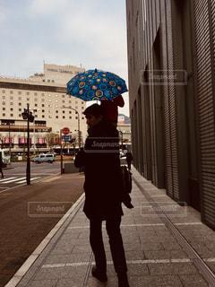 雨,傘,親子,シルエット,街