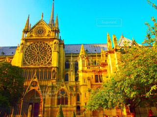 空,建物,屋外,海外,綺麗,青空,観光,都会,旅,フランス,パリ,海外旅行,ノートルダム,ノートルダム寺院