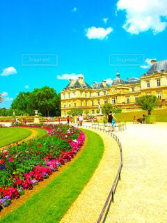 建物,春,花畑,屋外,海外,綺麗,青空,散歩,黄色,フランス,パリ,イエロー,黄