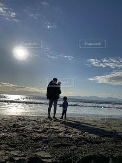 家族,海,空,太陽,ビーチ,親子,砂浜,海岸,光