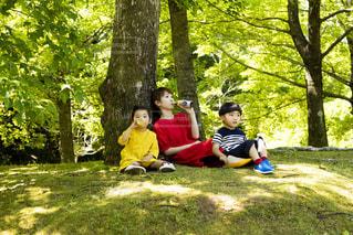 公園に座っている若い男の写真・画像素材[2214387]