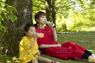 公園に座っている小さな女の子の写真・画像素材[2214412]