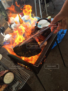 屋外,グリル,ごはん,肉,料理,調理,バーベキュー,燃える,塊,猪の肉
