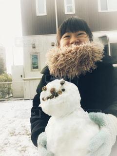 冬,雪,白,女の子,笑顔,雪だるま,ホワイト,娘,積雪