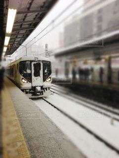 冬,雪,駅,電車,鉄道,新宿駅,プラットフォーム