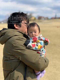 屋外,かわいい,赤ちゃん,父親,父と娘,ぱぱ好き