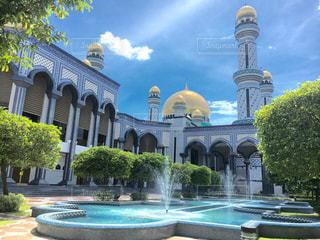 風景,空,建物,木,庭,屋外,水,アジア,噴水,東南アジア,モスク,イスラム,海外旅行,美しい景色,フォトジェニック,イスラム建築,ブルネイ