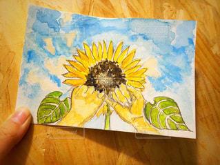 空,花,夏,イラスト,ひまわり,水彩,約束,手書き,イメージ,手描きイラスト,ひまわりイラスト,ひまわりの約束