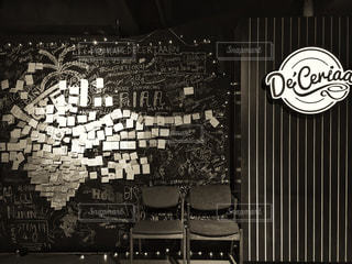 カフェ,モノクロ,白黒,旅行,旅,黒板,寄せ書き,チョーク,メッセージ,ロマンティック,素敵,シック,おしゃれ,フォトジェニック,メッセージボード,大人っぽい,黒板アート,インスタ映え,ブルネイ