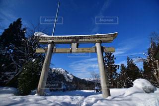 風景,空,冬,雪,神社,鳥居,美しい,樹木,八海山,新潟県