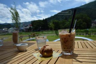 空,食事,山,デザート,紅茶,ミルクティー,タピオカ,オープンカフェ