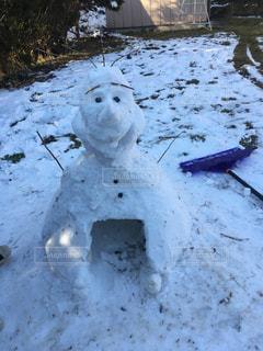 自然,冬,雪,屋外,白,アート,子供,雪だるま,オラフ