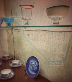 食器、地図、アンティークの写真・画像素材[2831519]