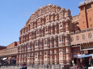 風景,屋外,海外,ピンク,景色,観光,旅行,インド,海外旅行,ジャイプール,宮殿,風の宮殿,ピンクシティ,レジャー・趣味,ハワーマハル