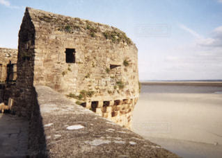 風景,海,綺麗,砂浜,ヨーロッパ,観光,フランス,海外旅行,モンサンミッシェル,城壁