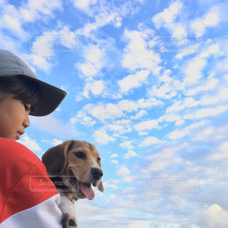 人と犬のカメラ目線の写真・画像素材[1861039]