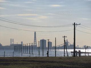 海岸,夕方,工場,電柱,旅行,お散歩