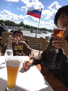 公園,夏,旗,兄弟,船上,クルージング,ロシア,モスクワ,ランチビール,モスクワ川