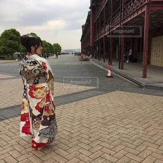 振袖着て、横浜赤レンガ倉庫。の写真・画像素材[1723999]